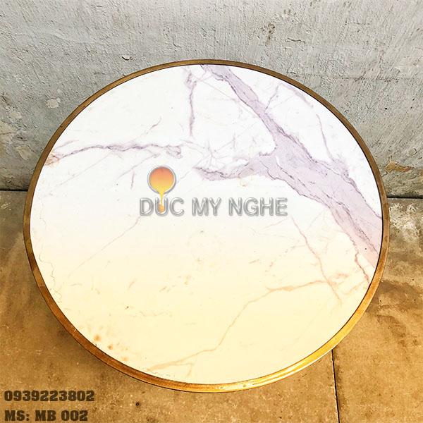 Mặt Bàn Đá Marble Cafe Viền Đồng Liền Khối Bảo Vệ Đá MB002 - Hình 3