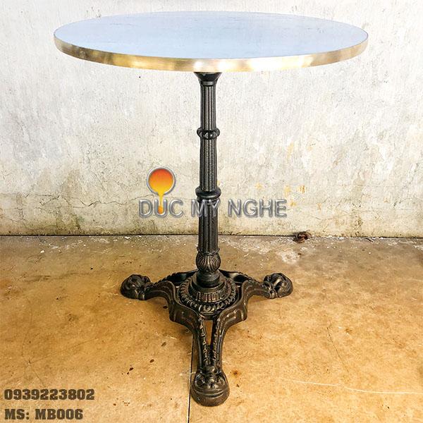 Mặt Bàn Đá Marble Cafe Viền Đồng Sang Trọng Cao Cấp MB006 - Hình 4
