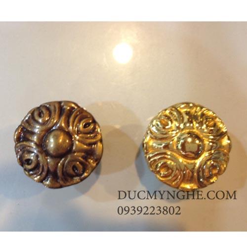 Núm tủ gỗ đúc bằng đồng hoa văn giả cổ hoặc đánh bóng sáng 18k TNT005 - Hình 1