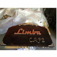 Bảng tên quán cafe Limba đúc nhôm kết hợp chữ đúc đồng vàng bóng BHLG006