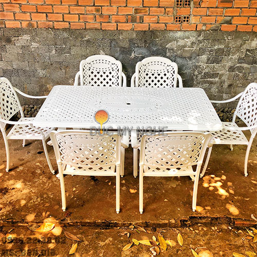 Bộ Bàn Ghế Ăn Sân Vườn Ngoài Trời Nhôm Đúc - Gia Đình Nhà Hàng BGN016