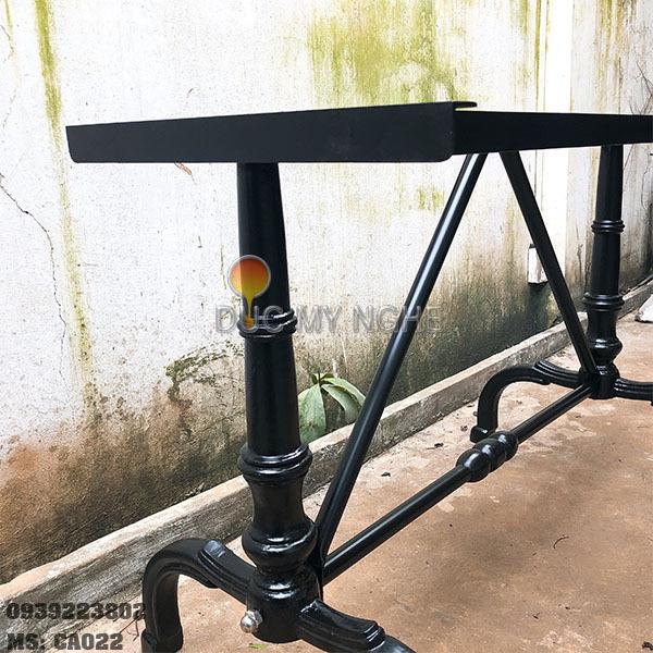 Chân Bàn Ăn Cafe Gỗ Nguyên Tấm Sắt Khung Chữ I Gang Đúc CA022