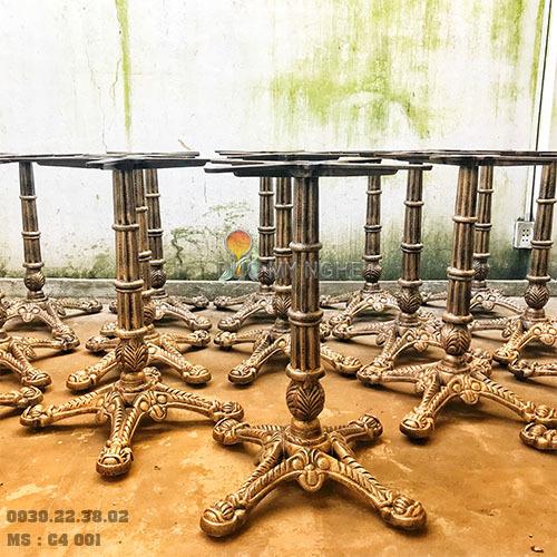 Chân Bàn Cafe 4 Chân Đầu Lân Gang Đúc C4001