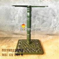 Chân bàn cafe đế vuông hoa văn cổ điển Gang đúc CV001A