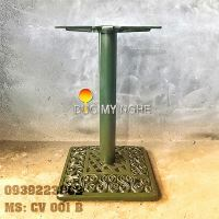 Chân bàn cafe đế vuông hoa văn cổ điển Gang đúc thân sắt CV001B