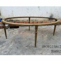 Chân Bàn Sofa Hợp Kim Nhôm Đúc Oval Gắn Mặt Đá Gỗ BS002