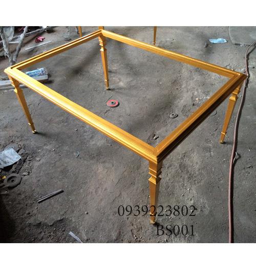 Chân Bàn Sofa Nhôm Đúc Khung Chữ Nhật Gắn Mặt Đá,Gỗ Sơn Màu Đồng Cổ BS001
