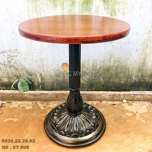 Chân Bàn Tròn Cafe Cổ Điển Gang Đúc Mặt Đá Marble Viền Đồng CT006