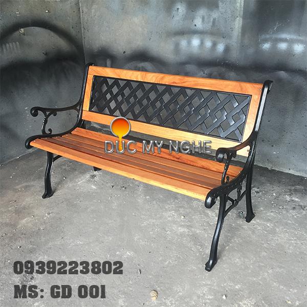 Ghế Băng Dài Gỗ Căm Xe Gang Đúc - Công Viên Ngoài Trời Sân Vườn GD001