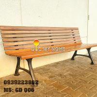 Ghế Băng Dài Công Viên Gang Đúc Đẹp Ngồi Chờ Gỗ Ngoài Trời Không Tay Vịn GD006