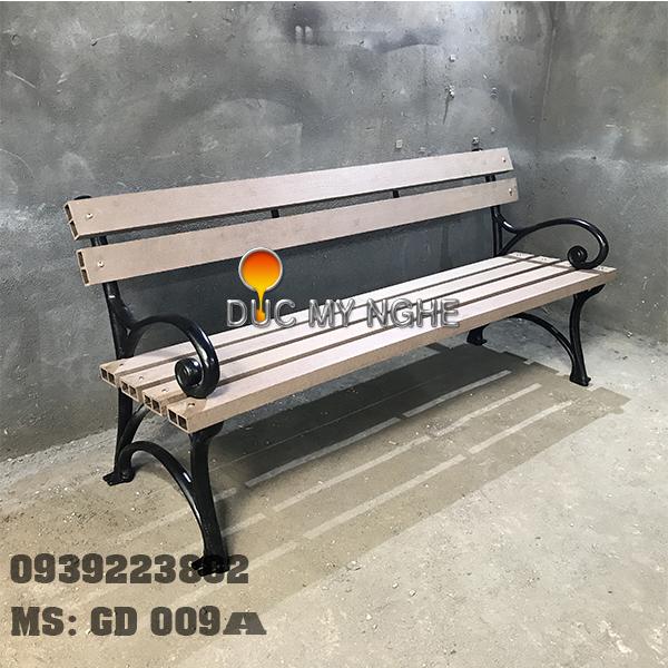Ghế Công Viên Gang Đúc Gỗ Nhựa Ngoài Trời Sân Vườn GD009A