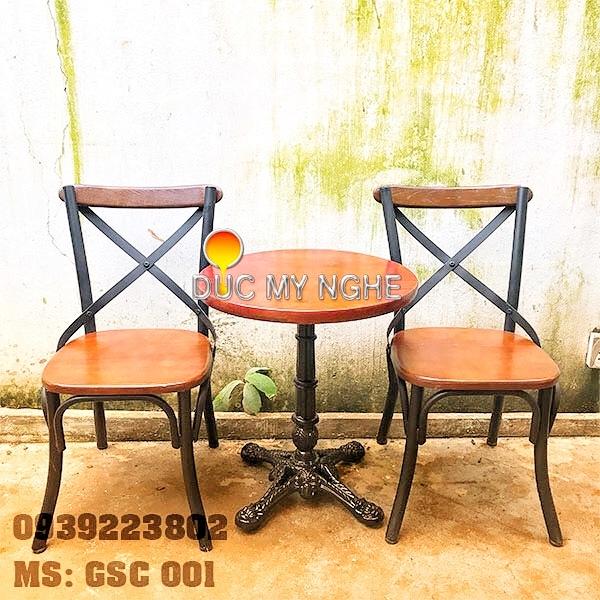 Ghế Sắt Cafe Ngoài Trời Ngồi Gỗ Ash - Trà Sữa Quán Ăn GS001