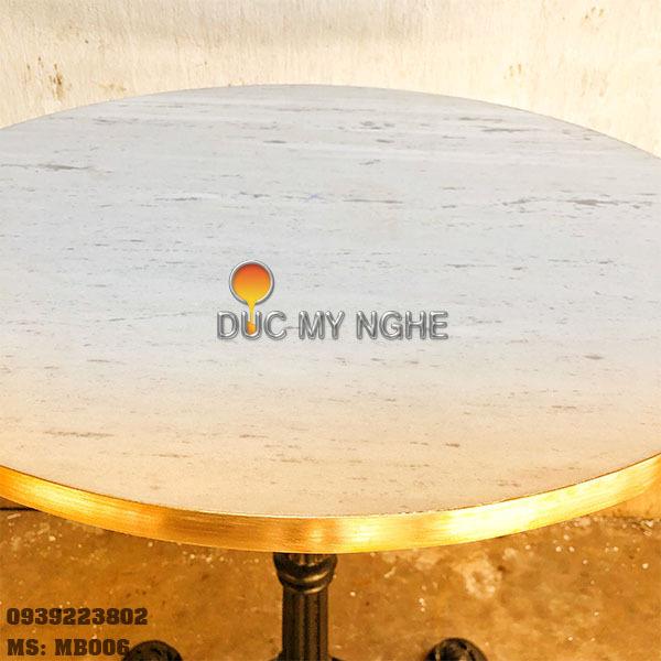 Mặt Bàn Đá Marble Cafe Viền Đồng Sang Trọng Cao Cấp MB006